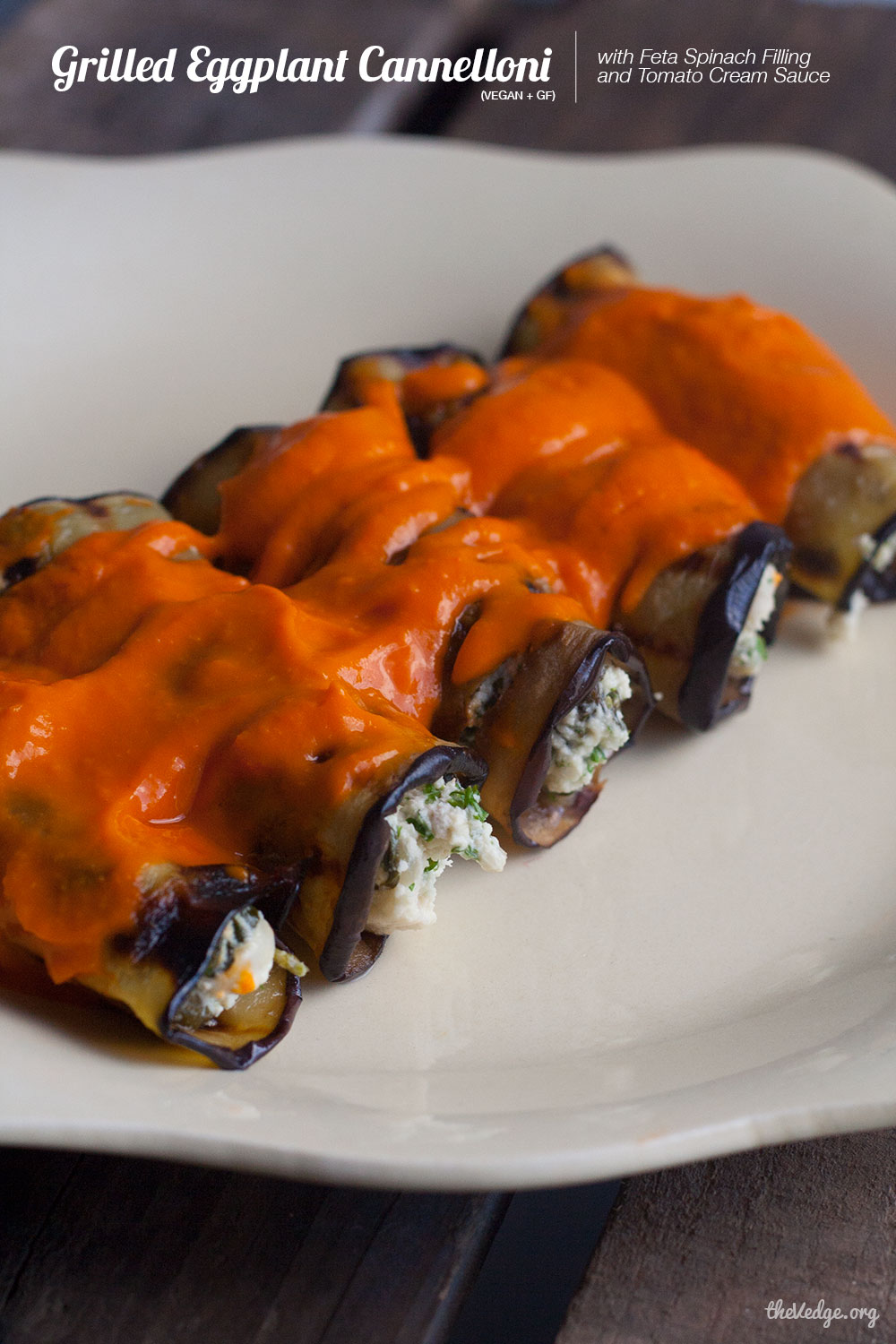 Grilled Eggplant Cannelloni with Feta Spinach Filling and Tomato Cream ...